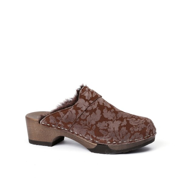TAIRA brocade/lambskin brown (dark)