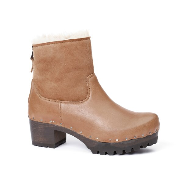 IRIS washed nappa/double face suede camel